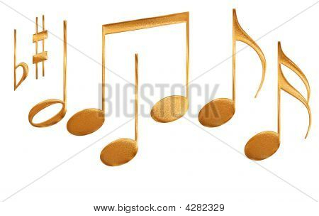 Set Of Gold Pattern Musical Note Symbols Isolated