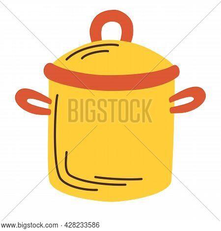 Kitchen Pot. Cooking, Chef. Kitchen Utensil, Food Cooking Kitchenware. Vector Illustration In Cartoo