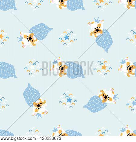 Seamless Nursery Pattern Dog. Handdraw Cute Sleeping Animal With Crown. Blue Kids Background.