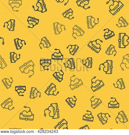 Blue Line Virtual Reality Glasses Icon Isolated Seamless Pattern On Yellow Background. Stereoscopic