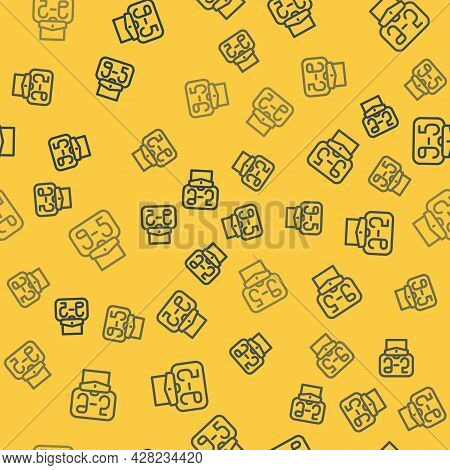 Blue Line From 9:00 To 5:00 Job Icon Isolated Seamless Pattern On Yellow Background. Concept Meaning