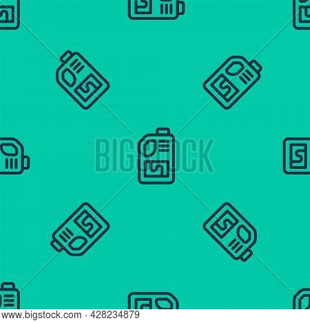 Blue Line Drain Cleaner Bottle Icon Isolated Seamless Pattern On Green Background. Water Pipes Clean