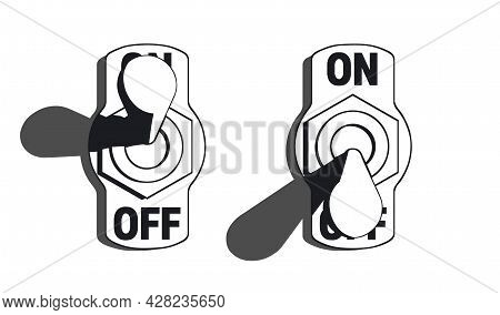 Set Of Toggle Switches Turned On And Turned Off. High Contrast Black And White Vector Illustration W