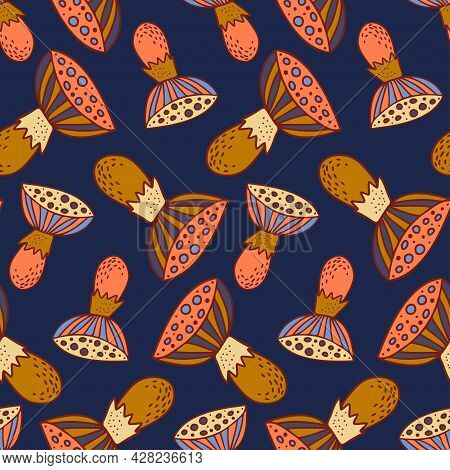 Vector Seamless Colorful Pattern With Lined Orange Mushrooms Fungi On Dark Blue