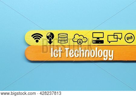 Colored Ice Cream Sticks With The Words Ict Technology And Ict Related Icons