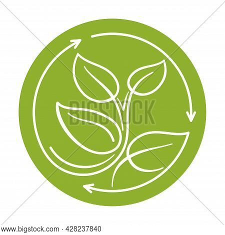 Recycle Waste Biomaterials And Biodegradable Sticker - Plant Sprout Turns Ty Circular Arrows - Eco F