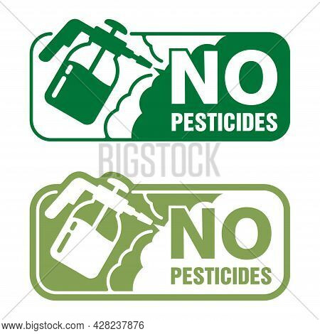 No Pesticides Square Label - Sprayer Hand Tool Equipment For Gardening Or Agriculture. Isolated Vect