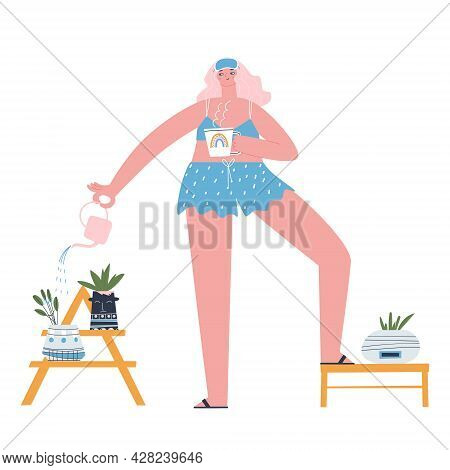 A Girl In Pajamas Is Drinking Her Morning Coffee And Watering Her Houseplants From A Small Watering