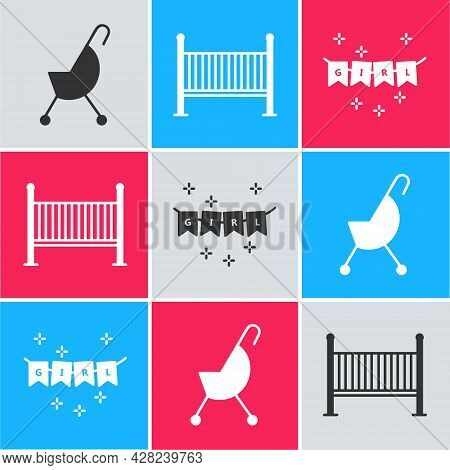 Set Baby Stroller, Baby Crib Cradle Bed And Carnival Garland With Flags Icon. Vector