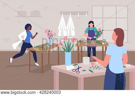 Floral Workshop For Doctors Wellbeing Flat Color Vector Illustration. Mental Health Support. Creativ