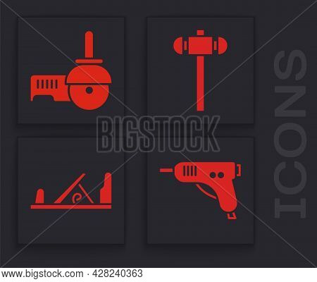 Set Electric Hot Glue Gun, Angle Grinder, Sledgehammer And Wood Plane Tool Icon. Vector
