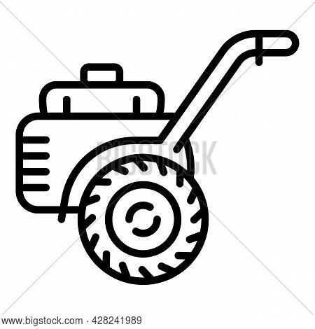 Farm Walk-behind Tractor Icon. Outline Farm Walk-behind Tractor Vector Icon For Web Design Isolated