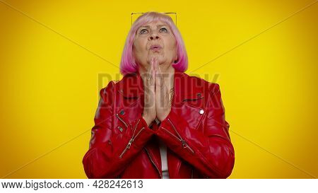 Please, God, Forgive Me. Mature Old Granny Woman Praying, Looking Upward And Making Wish, Asking For