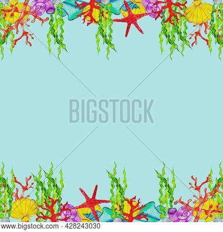 The Sea Floor.corals,starfish, Shells,mollusks, Algae Of Red, Coral, Red, Blue, Green,purple .summer