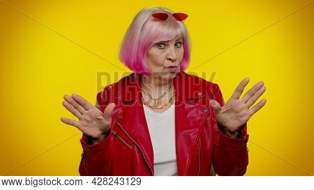 I Am Not Guilty. Confused Senior Old Granny Woman With Pink Hair Pointing Fingers Himself Ask Say Wh