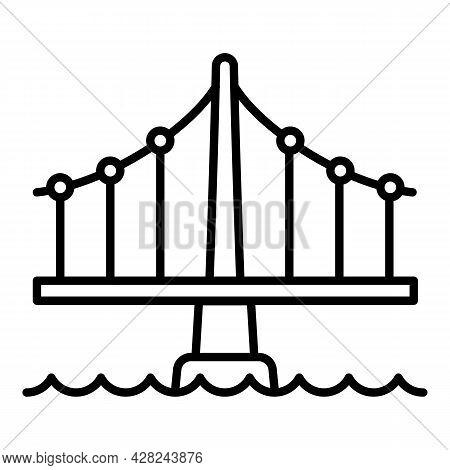 Building Bridge Icon. Outline Building Bridge Vector Icon For Web Design Isolated On White Backgroun