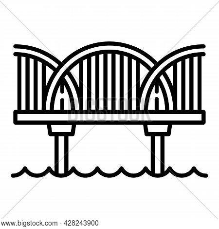 River Bridge Icon. Outline River Bridge Vector Icon For Web Design Isolated On White Background