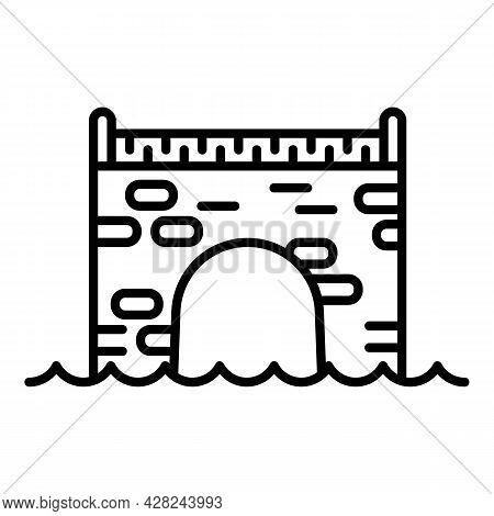 Brick Bridge Icon. Outline Brick Bridge Vector Icon For Web Design Isolated On White Background