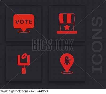 Set Eagle, Vote, Patriotic American Top Hat And Football Goal Post Icon. Vector