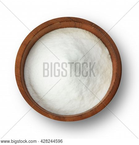 Top View Of Sodium Bicarbonate In Wooden Bowl Isolated On White Background