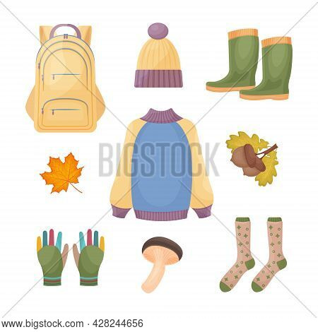 A Bright Large Set Consisting Of Autumn Accessories, A Warm Sweater And Hat, Rubber Boots, Gloves, W