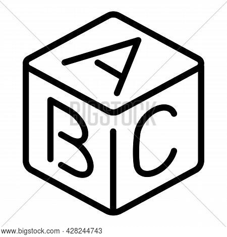 Abc Toy Cube Icon. Outline Abc Toy Cube Vector Icon For Web Design Isolated On White Background