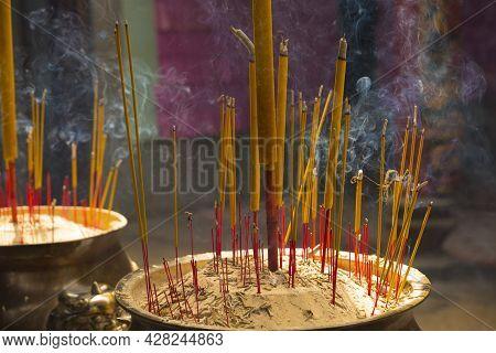 Incense Burning At Chua Ba Thien Hau Temple In Ho Chi Minh City, Vietnam
