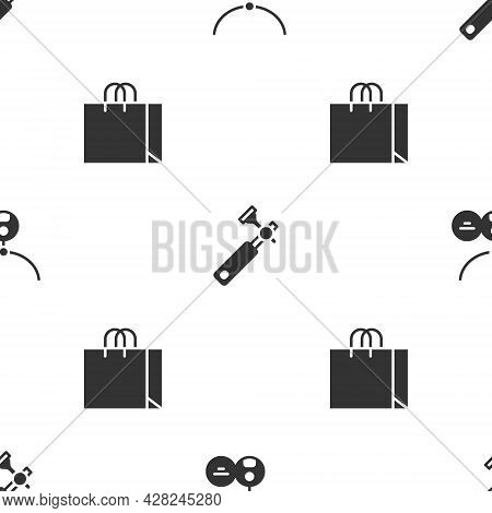 Set Locket On Necklace, Jewelers Lupe And Shopping Bag Jewelry On Seamless Pattern. Vector