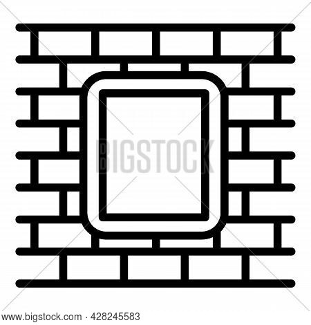 Brick Wall Outdoor Advertising Icon. Outline Brick Wall Outdoor Advertising Vector Icon For Web Desi