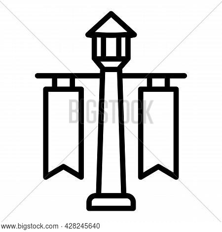 Pillar Light Outdoor Advertising Icon. Outline Pillar Light Outdoor Advertising Vector Icon For Web
