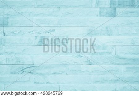 Pastel Blue And White Brick Wall Texture Background. Brickwork Painted Of Blue Color Interior Rock O