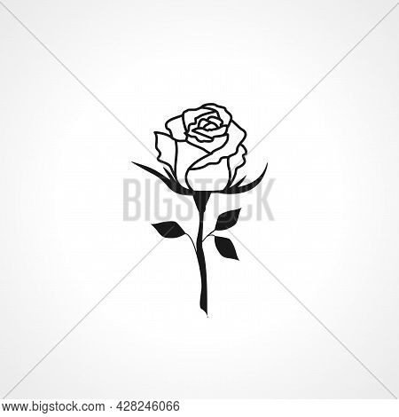 Rose Icon. Rose Flower Simple Vector Icon. Rose Flower Isolated Icon.