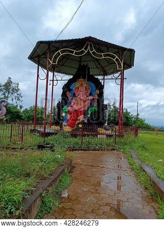 Stock Photo Of Big Idol Or Statue Of Lord Ganesha And Small Statue Of Mouse Under Big Shelter, This