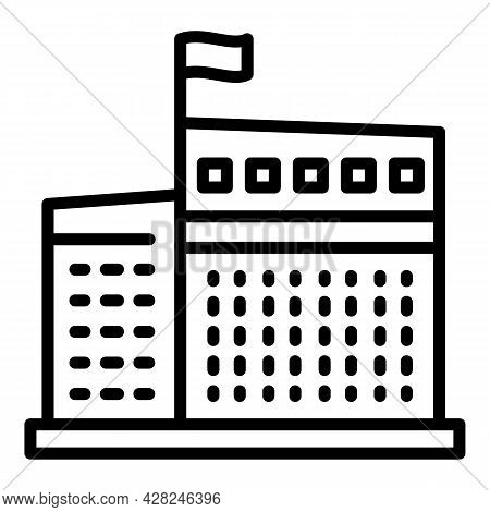Courthouse Building Icon. Outline Courthouse Building Vector Icon For Web Design Isolated On White B