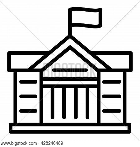 Courthouse Flag Icon. Outline Courthouse Flag Vector Icon For Web Design Isolated On White Backgroun