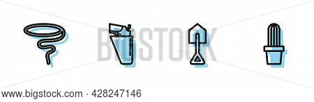 Set Line Shovel, Lasso, Revolver Gun In Holster And Cactus Peyote Pot Icon. Vector