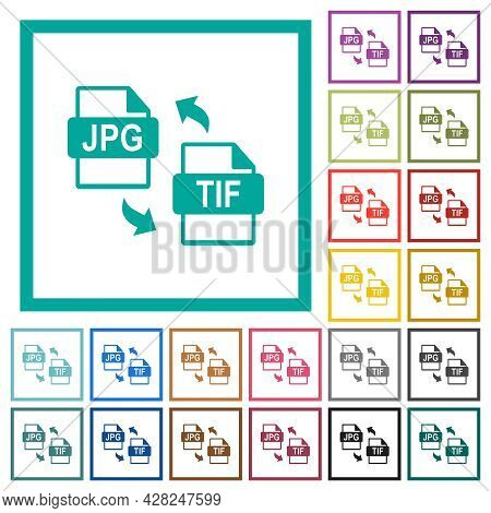 Jpg Tif File Conversion Flat Color Icons With Quadrant Frames On White Background