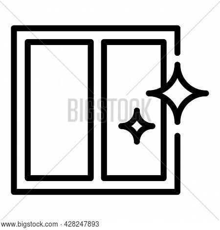 Shiny Clean Window Icon. Outline Shiny Clean Window Vector Icon For Web Design Isolated On White Bac