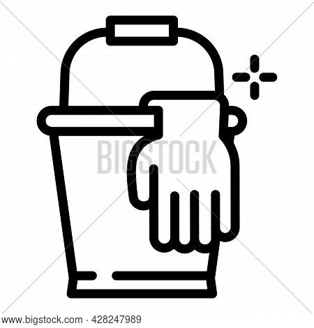 Cleaner Bucket Icon. Outline Cleaner Bucket Vector Icon For Web Design Isolated On White Background