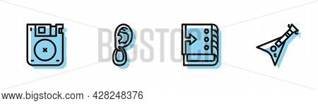 Set Line Sound Mixer Controller, Floppy Disk, Ear With Earring And Electric Bass Guitar Icon. Vector