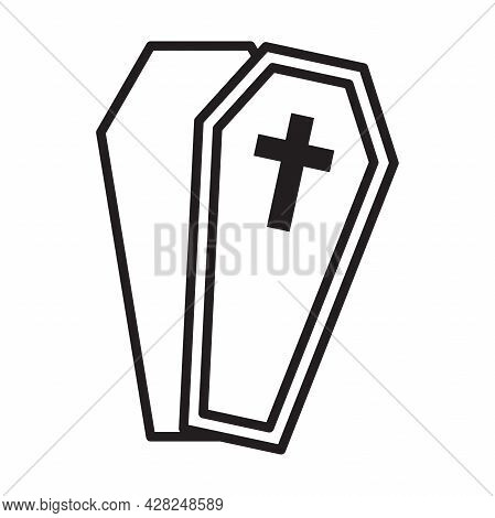 Halloween Coffin Silhouette Flat Icon Vector For Your Web Site Design, Logo, App, Ui. Illustration,