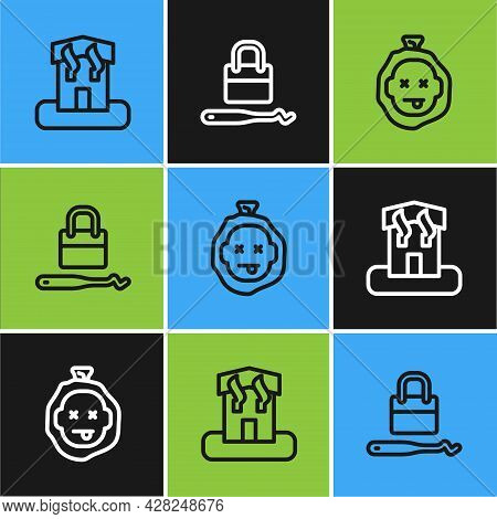 Set Line Arson Home, Murder And Lock Picks For Lock Picking Icon. Vector