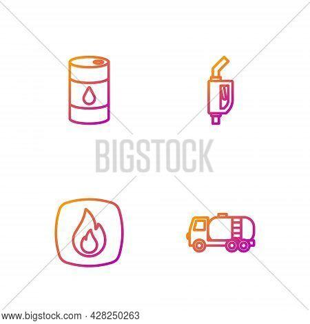 Set Line Tanker Truck, Fire Flame, Barrel Oil And Gasoline Pump Nozzle. Gradient Color Icons. Vector