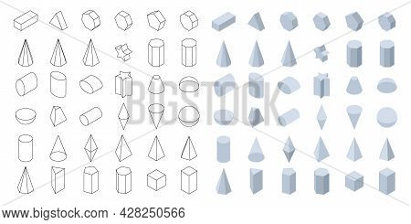 Set Of 3d Basic Geometric Shapes. Isometric Shapes For School And Math. Isolated Vector Illustration