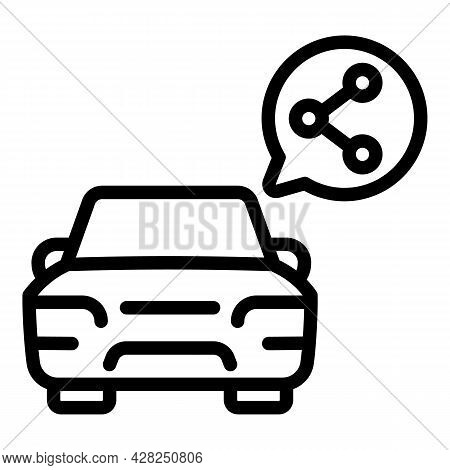 Ride Car Sharing Icon. Outline Ride Car Sharing Vector Icon For Web Design Isolated On White Backgro
