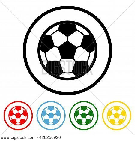 Soccer Ball Icon Vector Illustration Design Element With Four Color Variations. Vector Illustration.