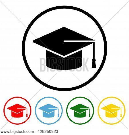 Graduation Cap Icon Vector Illustration Design Element With Four Color Variations. Vector Illustrati
