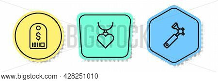 Set Line Price Tag With Dollar, Necklace Heart Shaped Pendant And Jewelers Lupe. Colored Shapes. Vec
