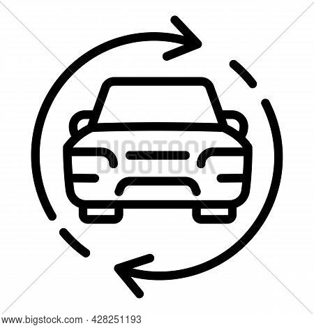 Usage Car Sharing Icon. Outline Usage Car Sharing Vector Icon For Web Design Isolated On White Backg