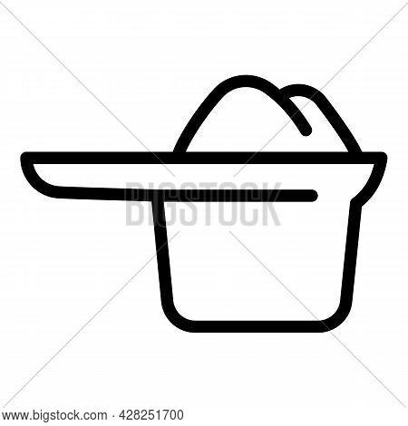 Protein Powder Spoon Icon. Outline Protein Powder Spoon Vector Icon For Web Design Isolated On White